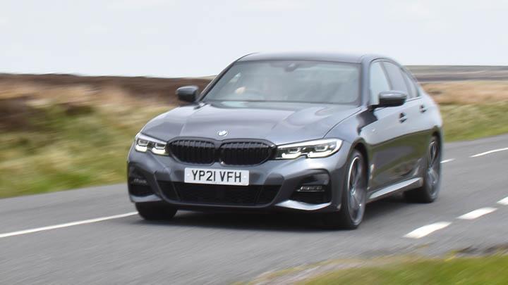 Grey BMW 3 Series, motion shot