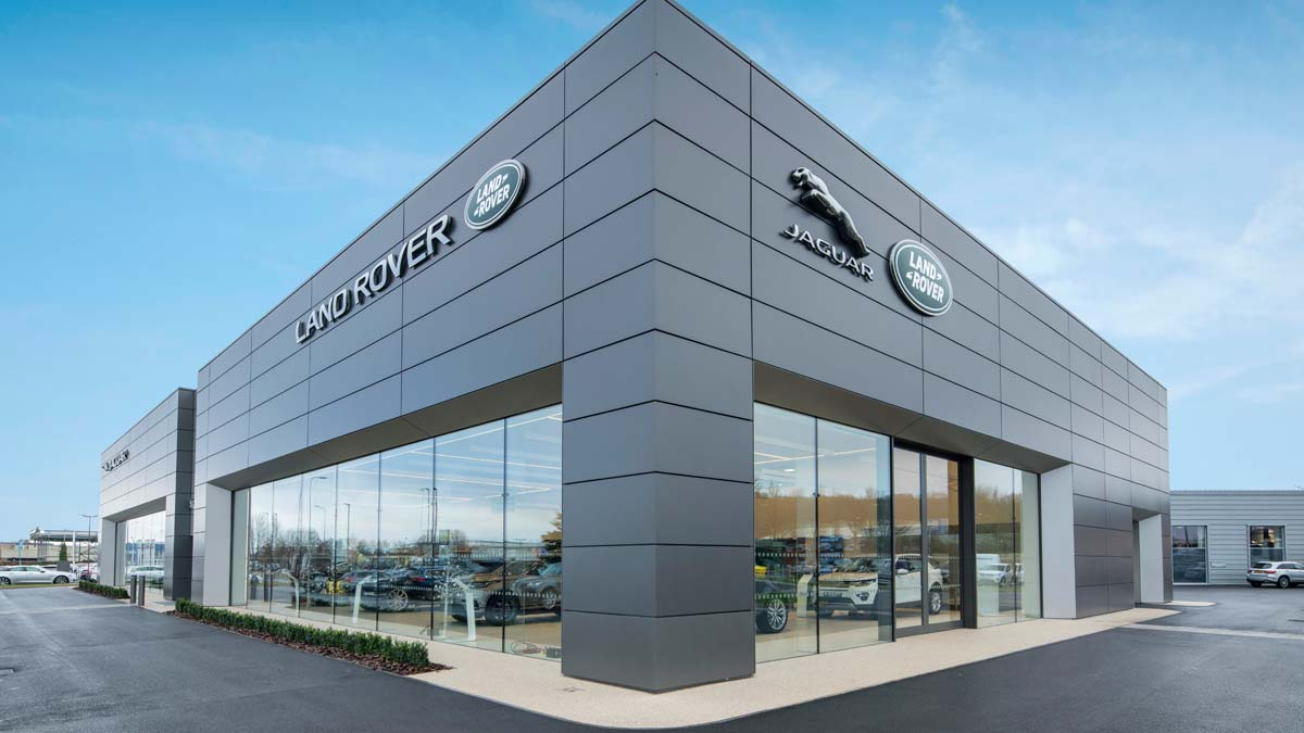 View of the Jaguar Land Rover Cardiff building.