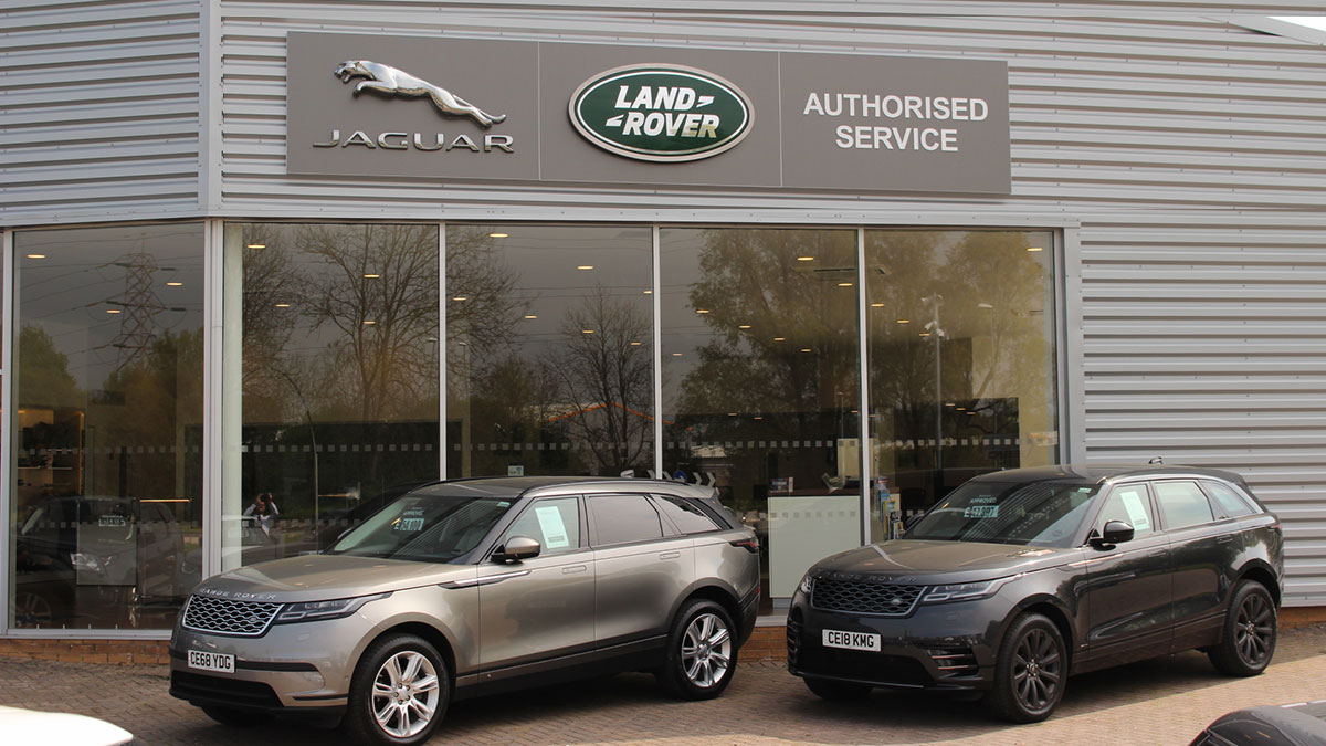 Two Range Rover's outside Jaguar Land Rover Newport.