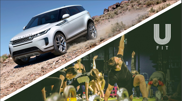 Split image of a Silver Range Rover Evoque and UFit Bootcamp in action.