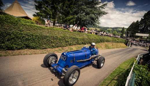 Blue car at Shelsley Walsh.