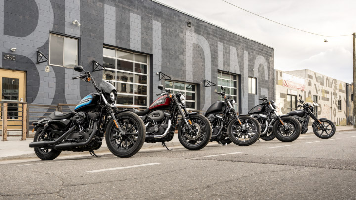 Harley Davidsons lined up.