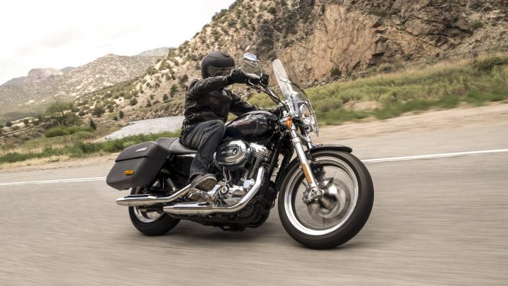 Harley Davidson Sportster on the road.
