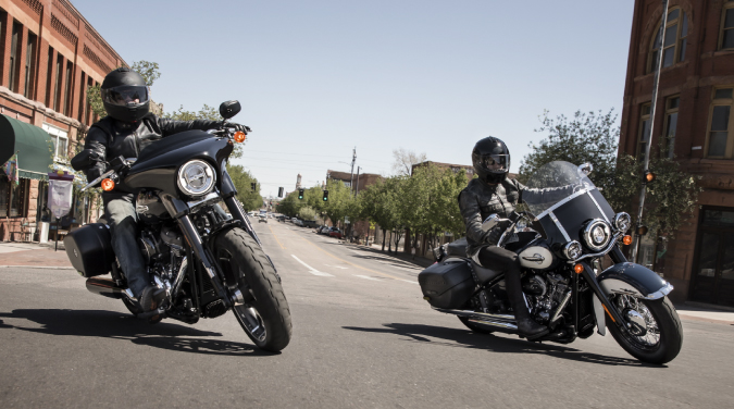 Two used Harley Davidsons on the road.