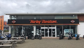 Outside one of the Harley Davidson showrooms.