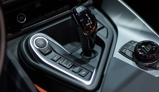 Car gear stick and controls.