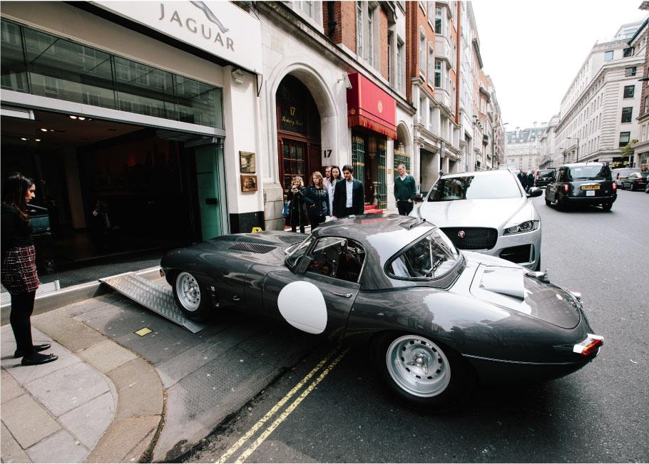 Jaguar Lightweight E-Type driving into the Mayfair branch.