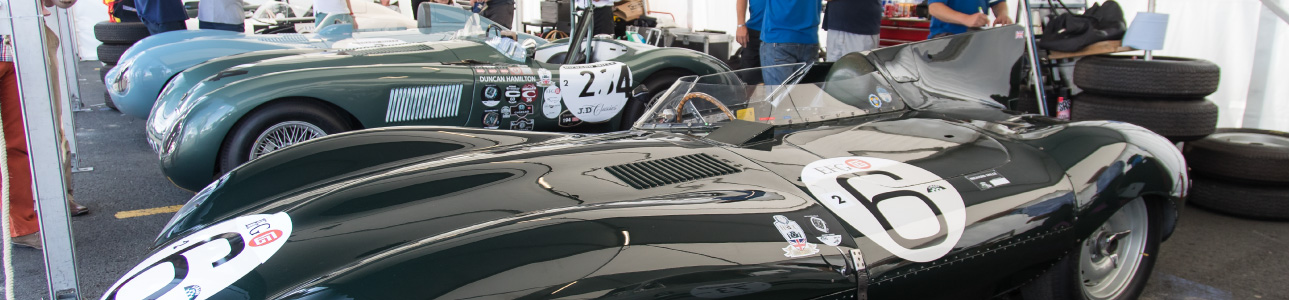 Jaguar Lightweight E-Type lined up on display.