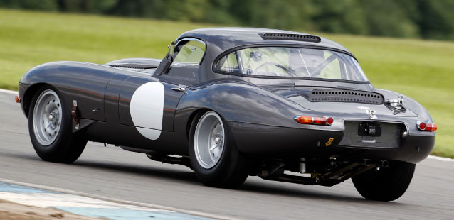 Rear view of the E-Type at Donington Park.