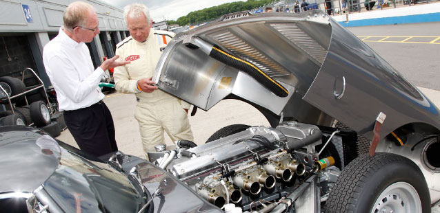 Gary Pearson looking under the bonnet of the Lightweight E-Type.