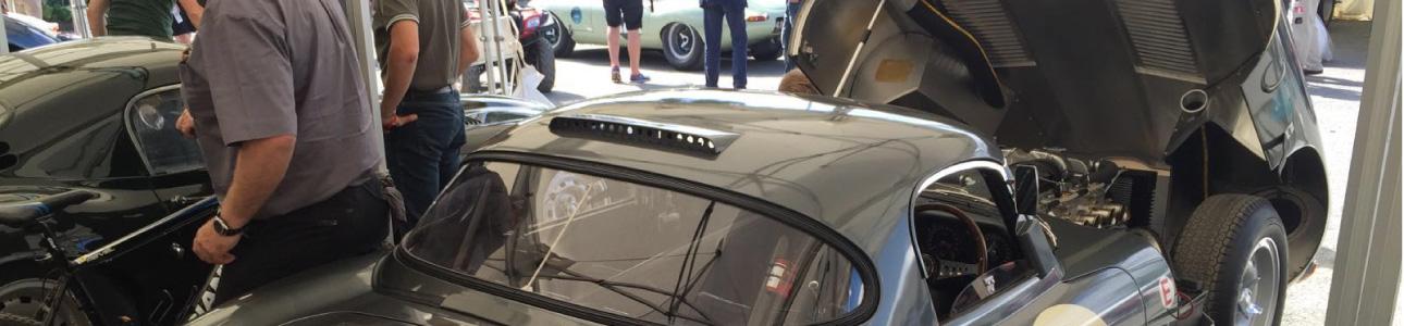 Jaguar Lightweight E-Type with the bonnet open.