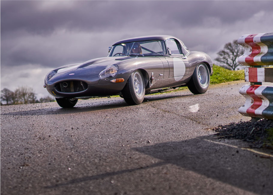 Jaguar Lightweight E-Type at Shelsley Walsh hillclimb.