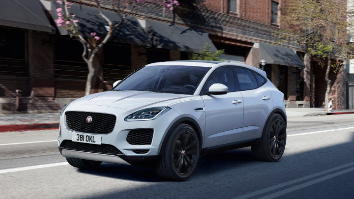 White Jaguar E Pace on the road.