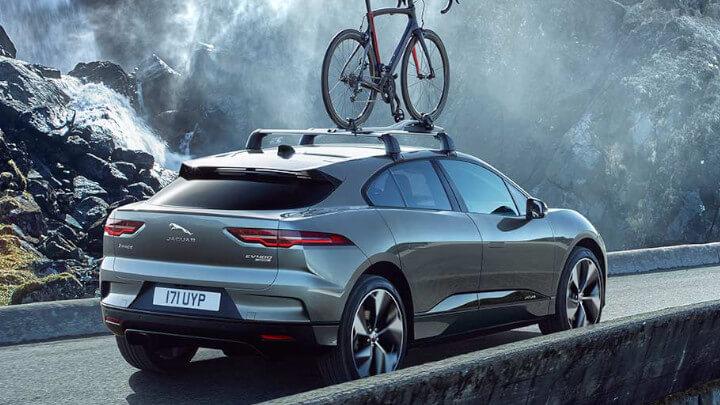 Jaguar I-PACE Rear, Bike on Roof