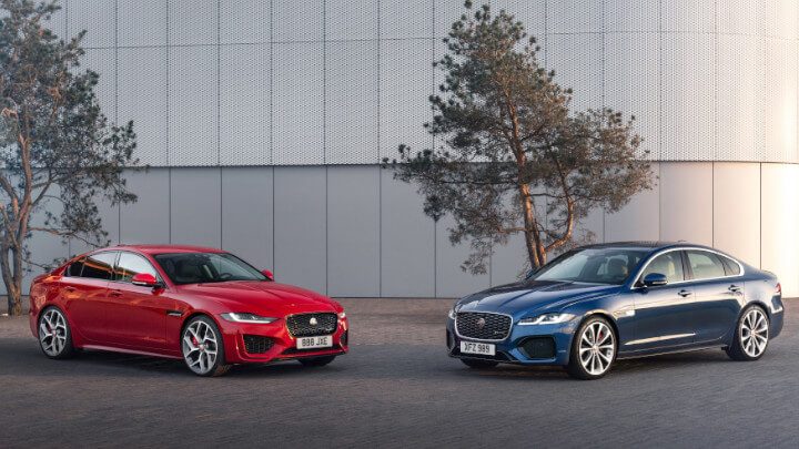 Blue and Red Jaguar XE