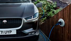 Black Jaguar I-PACE charging.