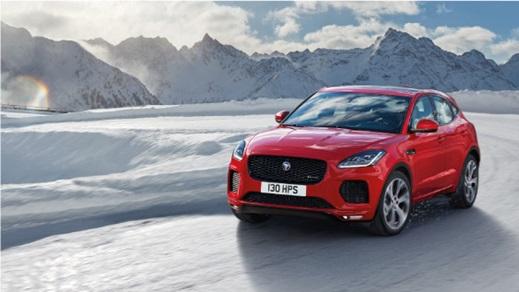 Jaguar E-Pace in red.