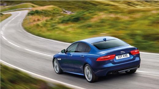 Jaguar XE in blue.