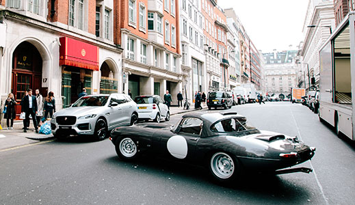 Jaguar Lightweight E-type in Mayfair London.