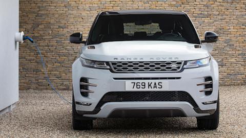 White Range Rover Evoque Plug-In Hybrid Front Charging