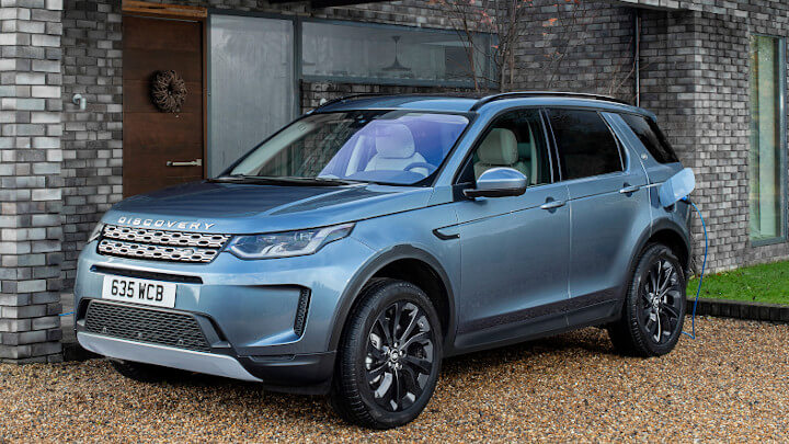 Blue Land Rover Discovery Sport Plug-In Hybrid Charging