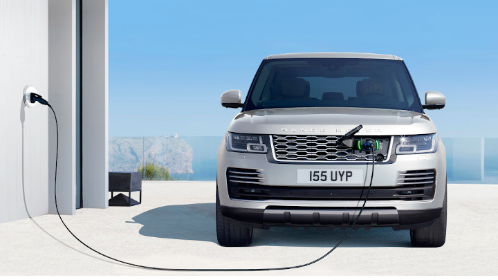 Silver Range Rover Plug-In Hybrid Front Charging