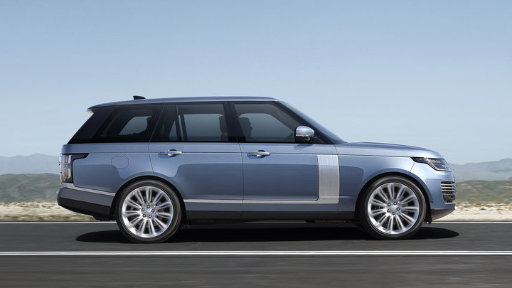 Silver Range Rover Plug-In Hybrid Side Driving