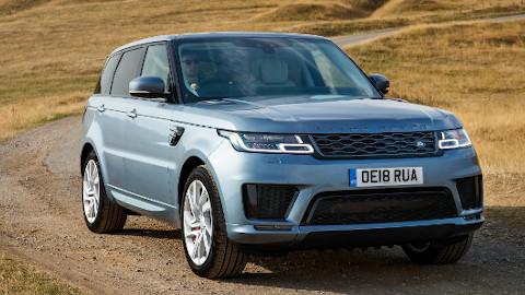 Blue Range Rover Sport Plug-In Hybrid Driving