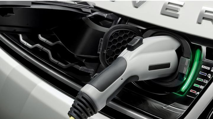 White Range Rover Sport Plug-In Hybrid Charging