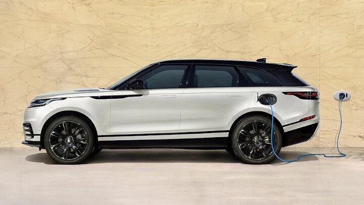 White Range Rover Velar Plug-In Hybrid Charging