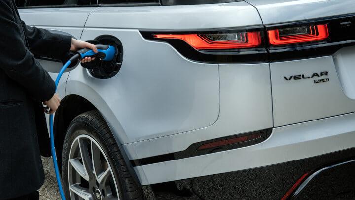 White Range Rover Velar Plug-In Hybrid On Charge