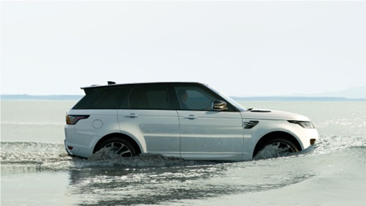 White Range Rover Sport driving through water.