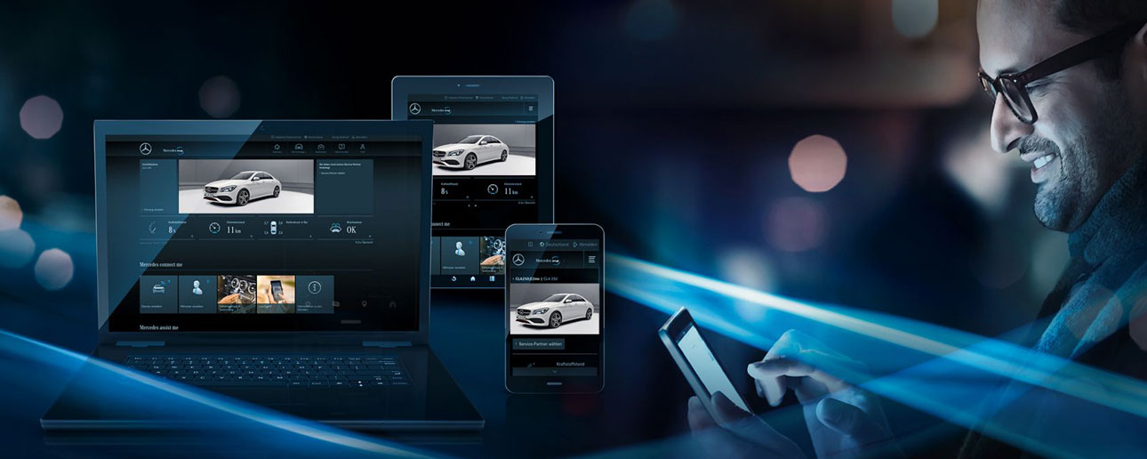 Mercedes me on laptop, tablet and phone.