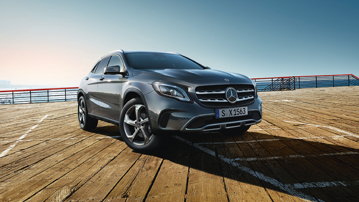 Mercedes-Benz GLA in grey parked up.