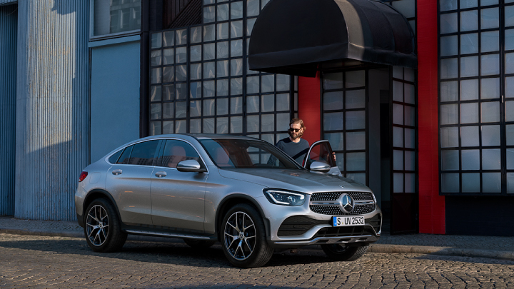 Silver Mercedes-Benz GLC-Coupe parked.