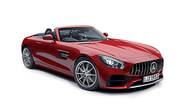 Mercedes AMG-GT Roadster in red.