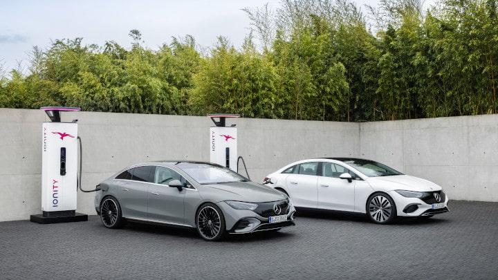 Duo of Mercedes-Benz EQE Charging