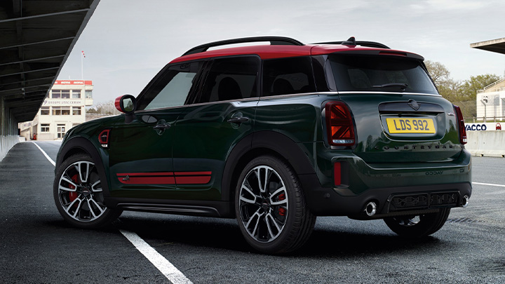 Green and Red MINI Countryman John Cooper Works, parked, rear