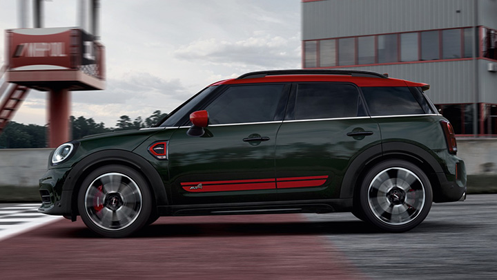 Green and Red MINI Countryman John Cooper Works, side profile