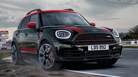 Green and Red MINI Countryman John Cooper Works, driving