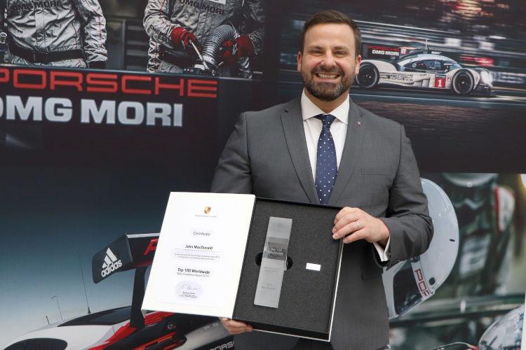 John Macdonald receiving Porsche Sutton Coldfield Award