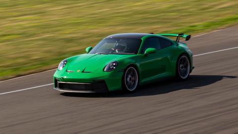 Green Porsche 911 GT3 Driving