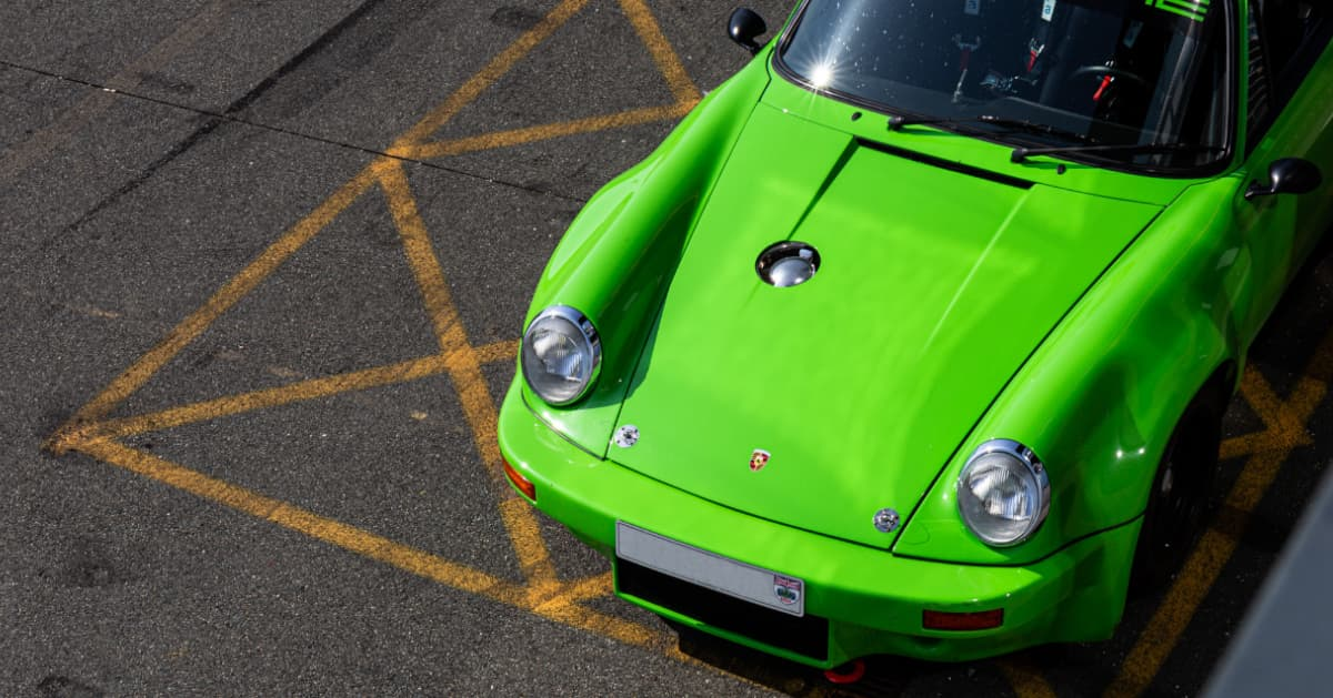 Green Porsche 911 RSR Aerial