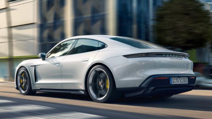 Porsche Taycan, Exterior, Rear, Driving