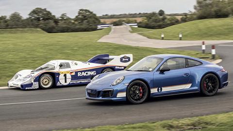 Blue Porsche 911 on track