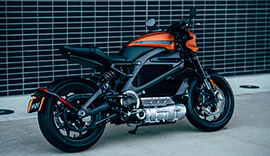 Side view of the Harley Davidson electric motorcycle.