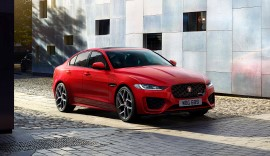 Red Jaguar XE Saloon.