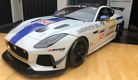 White Jaguar F Type GT4 in the showroom at Mayfair.