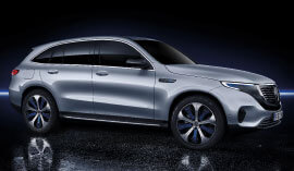Side view of the Mercedes-Benz EQC SUV in silver.