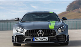 Front view of the grey Mercedes-Benz AMG GT R Pro parked up.